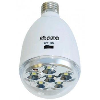 ФАЗА фонарь аварийный AccuF9-L1.5W-WH светильник светодиодный аккум. E27 6LED (90lm) 7000K, акк. 4V 900mAh (2.5ч)