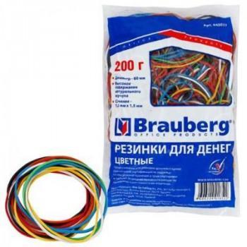 Резинки для денег 200г, 360шт BRAUBERG (натур. каучук!) цветные 440037