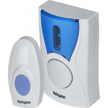 Navigator звонок беспроводной 100м, 36 мелодий, (2хR6), белый, IP20 NDB-A-DC02-1V1-WH 61268