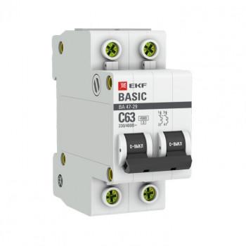 EKF Basic автоматический выключатель ВА47-29, 2P 6А (C) 4,5кА mcb4729-2-06C