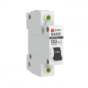 EKF Basic автоматический выкл. ВА47-29, 1P 25А (B) 4,5кА mcb4729-1-25-B