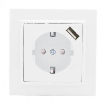 EKF Минск розетка СУ 1 мест. бел. 16А + USB 1A (земля, шторки) ERR16-028-100-USB
