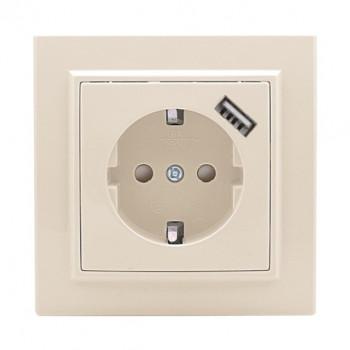 EKF Минск розетка СУ 1 мест. бежевый 16А + USB 1A (земля, шторки) ERR16-028-200-USB