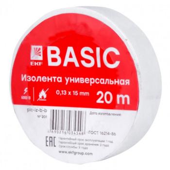 EKF Basic Изолента 15/20 класс В 0.13х15мм, 20 метров, белая (общего применения) plc-iz-b-w