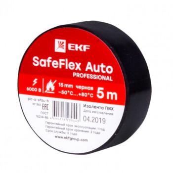 EKF SafeFlex Auto Изолента ПВХ 15/5 0,15мкм, d42мм черный -50...80°C ГОСТ plc-iz-sfau-b