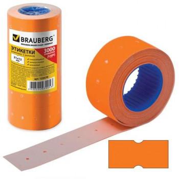 Этикетка PN 21*12мм BRAUBERG прямоуг, оранжевая, КОМПЛЕКТ 5 рулонов по 600шт, 123570