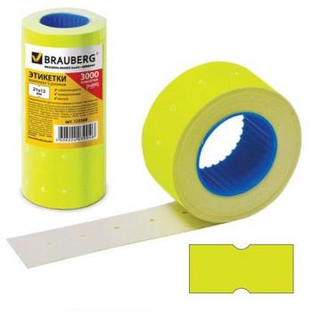 Этикетка PN 21x12мм BRAUBERG прямоуг, желтая, КОМПЛЕКТ 5 рулонов по 600шт, 123569