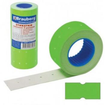 Этикетка PN 21x12мм BRAUBERG прямоуг, зеленая, КОМПЛЕКТ 5 рулонов по 600шт, 123571