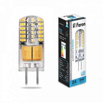 Лампа светодиодная Feron G4 12V 3W(250lm 270°) 6400K 6K прозрачная 38x11, LB-422 25533