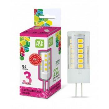 Лампа светодиодная ASD standard G4 12V 3W(270lm) 6500K 6K 45х16 пластик 6381