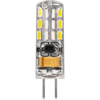 Лампа светодиодная Feron G4 12V 2W(170lm) 6400K 6K прозрачная 36x10 LB-420 25859