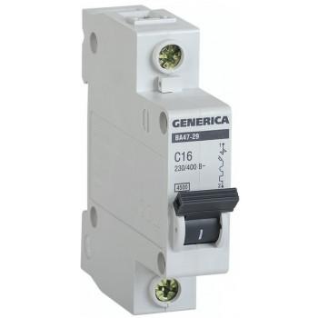 IEK GENERICA автоматический выключатель ВА47-29 1Р 63А 4,5кА х-ка С MVA25-1-063-C