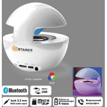 Estares Портативная колонка Bluetooth, USB-audio, MP3 (microSD) 4W RGB подсветка, 100x97мм белый