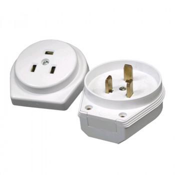 UNIVersal Штепс. разъем РШ/ВШ СУ 32А 230В для электроплит (3 конт, латунь, бел, пластик, земля) 1236