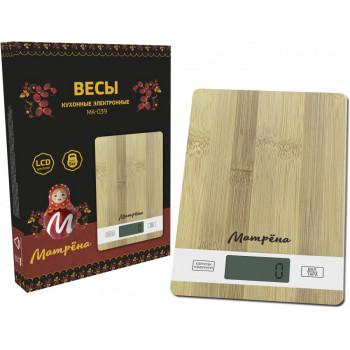 Весы кухон. эл. Матрена МА-039 (Бамбук) до 5кг, дел 1гр, 15*21см (2*ААА в компл) 7160