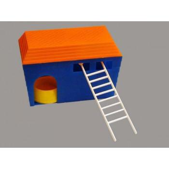 Дом для грызунов пластмассовый квадр. Зооник (основание,крыша,лестница,миска), арт.RP3211