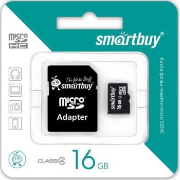 Карта памяти MicroSDHC 16GB Class4 SmartBuy с адаптером