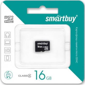 Карта памяти MicroSDHC 16GB Class4 SmartBuy без адаптера