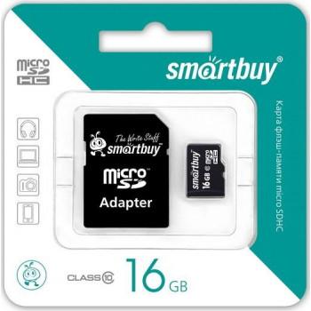 Карта памяти MicroSDHC 16GB Class10 SmartBuy с адаптером