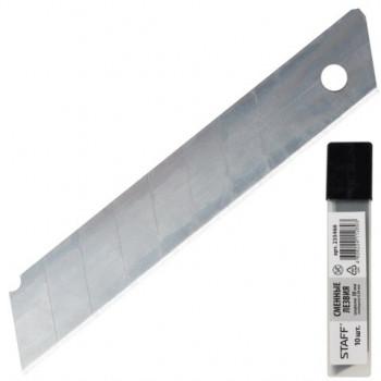 Лезвия для ножей STAFF эконом, 18мм, 0,38мм 10шт, пластик.пенале 235466