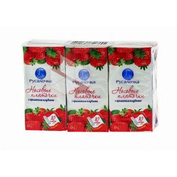 Носовые платочки бум. 2сл., 10шт/уп, цена за уп, ECOLINE аромат КЛУБНИКА, 439924 РУСАЛОЧКА