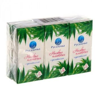 Носовые платочки бум., 2сл. 10шт/уп, цена за уп, ECOLINE аромат АЛОЭ, 439962 РУСАЛОЧКА