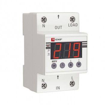 EKF PROxima реле напряжения с дисплеем 1P 25А 5,5кВт (Uрег.120В-300В,задерж.вкл. 5-600сек) MRV-25A
