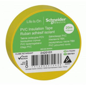 Schneider Electric Изолента ПВХ 19мм/20м желтая 130мкм 2-х ст. этикет. (уп=8шт отгр кр.1шт) IMT38201