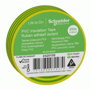 Schneider Electric Изолента ПВХ 19мм/20м желто-зелена 130мкм 2-х ст. этик (уп.8шт, кр.1шт) 1IMT38205