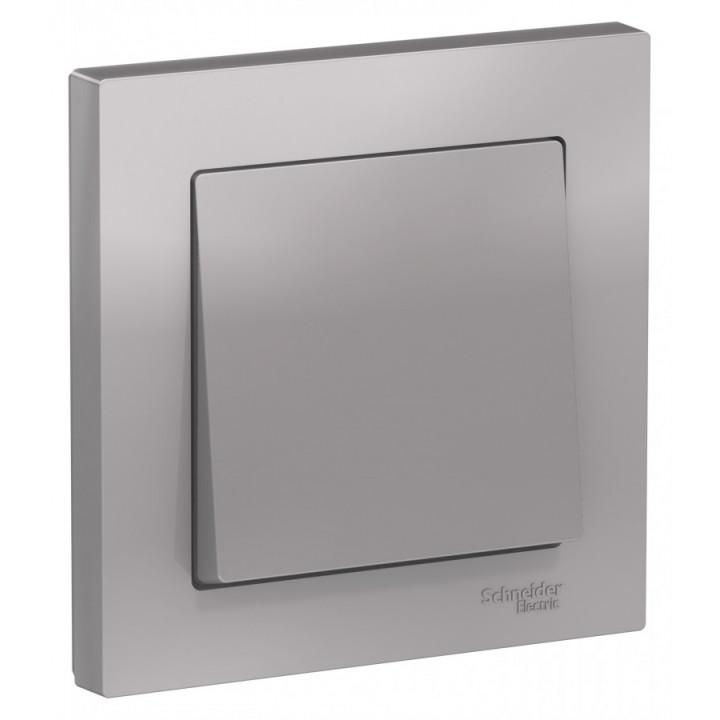 Schneider AtlasDesign выключатель СУ 1 кл. алюминий (пласт. осн.) ATN000312