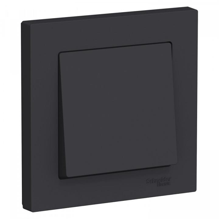 Schneider AtlasDesign выключатель СУ 1 кл. карбон (пласт. осн.) ATN001012