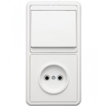 Кунцево-Электро БЭЛЛА блок (1роз+1кл. выключатель) СУ бел. АБС-пластик БКВР-037