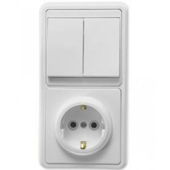 Кунцево-Электро БЭЛЛА блок (1роз+2кл. выключатель) СУ бел. земля, АБС-пластик БКВР-032