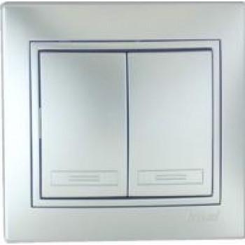 Lezard Мира выключатель СУ 2 кл. 10А металлик серый (корпус PC) 701-1010-101