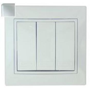 Lezard Мира выключатель СУ 3 кл. 10А металлик серый (корпус PC) 701-1010-109