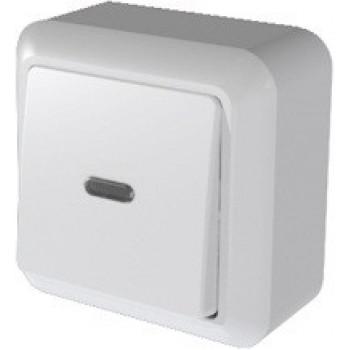 Кунцево-Электро ОПТИМА выключатель ОУ 1 кл. 10 А бел., инд. изол. пластина, АБС-пластик А110-386