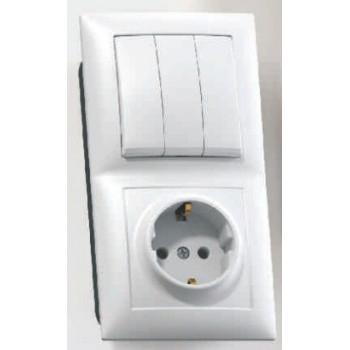 Кунцево-Электро СЕЛЕНА блок комбинированный (1роз+3кл. выключатель) СУ бел. земля, АБС-пластик БКВР-413