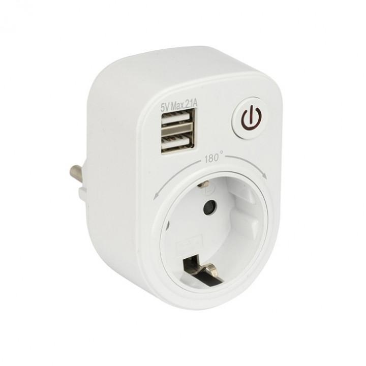 EKF PROxima разветвитель 1 розетка 16А + 2USB 5V 2,1A (розеткаблок с выключатель,адаптер/зарядка,поворот.) SB-01