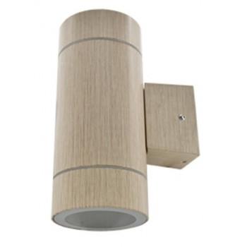 Ecola 2xGX53 8013A светильник прозр. Цилиндр металл. Светлое Дерево IP65 205x140x90 FW53W2ECH