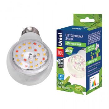 Uniel лампа светодиодная для растений A60 E27 10W 13мкм/с 60x110 прозр. LED-A60-10W/SPFB/E27/CL