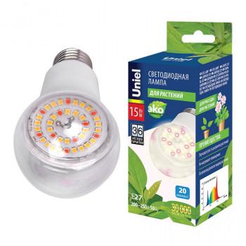 Uniel лампа светодиодная для растений A60 E27 15W 20мкм/с 60x130 прозр. LED-A60-15W/SPFB/E27/CL
