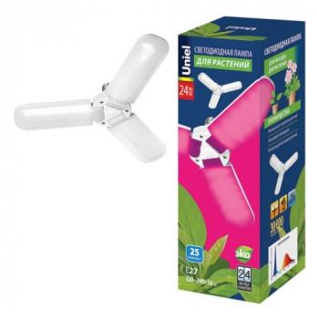 Uniel лампа светодиодная для рассады и растений P65 E27 24W 25мкм/с 84x240 матовая LED-P65-24W/SPSB/E27/FR/P3