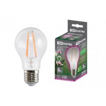TDM лампа светодиодный для растений A60 E27 8W 8.5мкмоль/с ФИТО прозр 60x108 A60-8Вт-230В-E27-CL SQ0340-0237