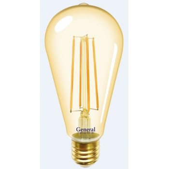 Лампа светодиодная General LOFT ST64S E27 10W(810lm) 2700K 2K 64x140 филамент (нитевидная) золотая 655302