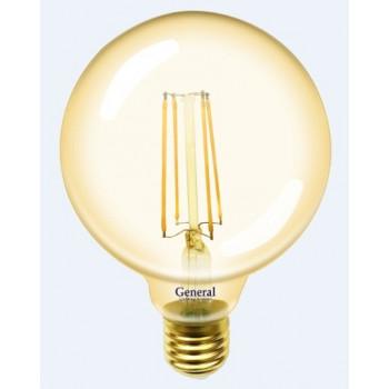 Лампа светодиодная General LOFT Шар G95S E27 8W(810lm) 2700K 2K 95x136 филамент (нитевидная) золотая 655307