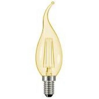 Лампа светодиодная General LOFT свеча на ветру E14 7W 2700K 2K 35x118 филамент (нитевидная) прозрачнаязолот 647300