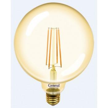 Лампа светодиодная General LOFT шар G125S E27 10W 2700K 2K 125x165 филамент (нитевид) золотая 655310