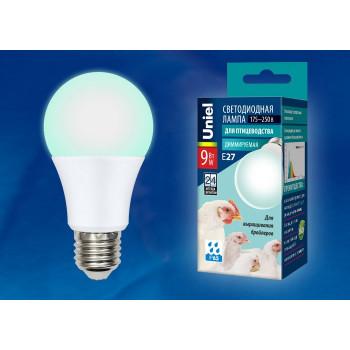 Лампа светодиодная Uniel димм. для птиц (бройлеров) E27 9W(900lm) 60x110 LED-A60-9W/SCBG/E27/FR/DIM IP65
