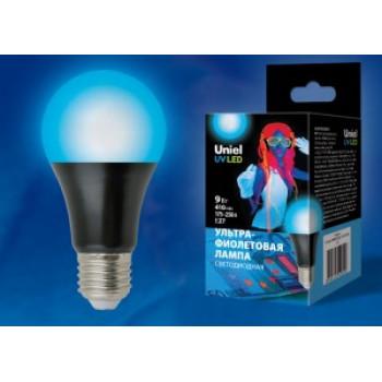Лампа светодиодная Uniel УФ для дискотек A60 E27 9W, cпектр UVA 410нм, матов LED-A60-9W/UVAD/E27/FR PLZ07BK