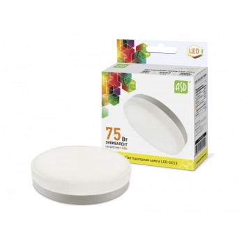 Лампа светодиодная ASD GX53 8W 3000K 2K 74x29 рифл. стекло пластик standard 5096